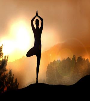 Stock Illustration of Yoga on Mountain