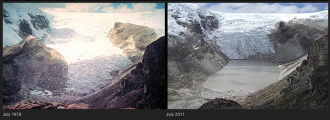 Melting Qori Kalis Glacier, Perù