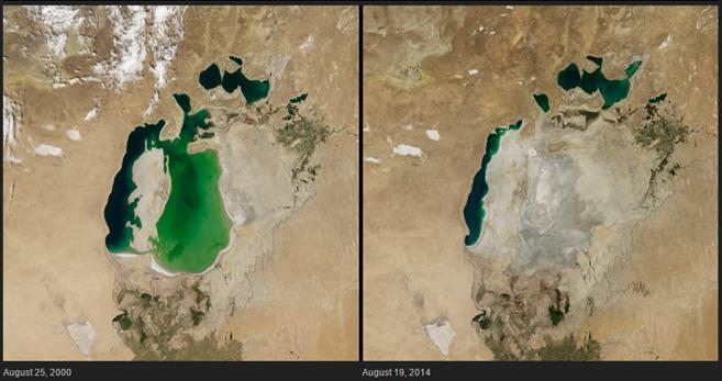 Shrinking lake, central Asia