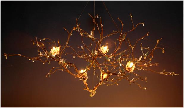 7 lampadari fai da te da realizzare con il riciclo for Luci led piccole