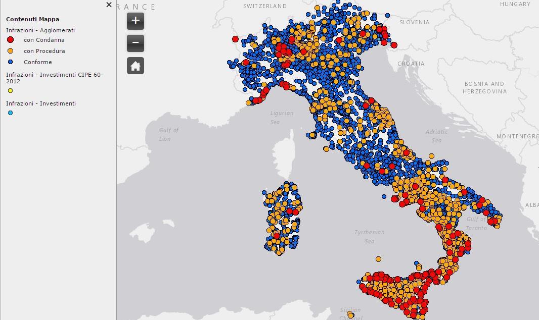 Acque reflue: la mappa delle criticità in Italia