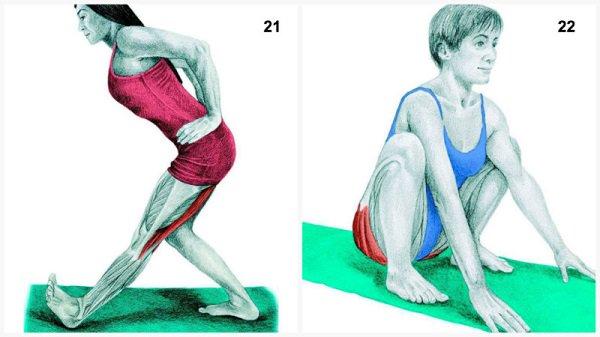 Stiramenti muscolari:allungamento del muscolo della gamba