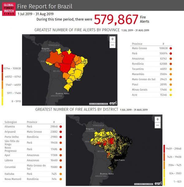 mappa monitoraggio incendi in brasile