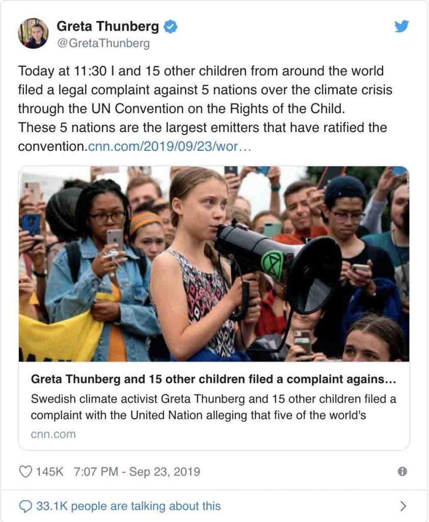 petizione globale sul clima Greta Thunberg