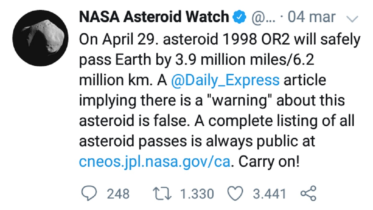 L'immagine è un tweet della Nasa che indica l'arrivo dell'asteroide 1998 OR2.
