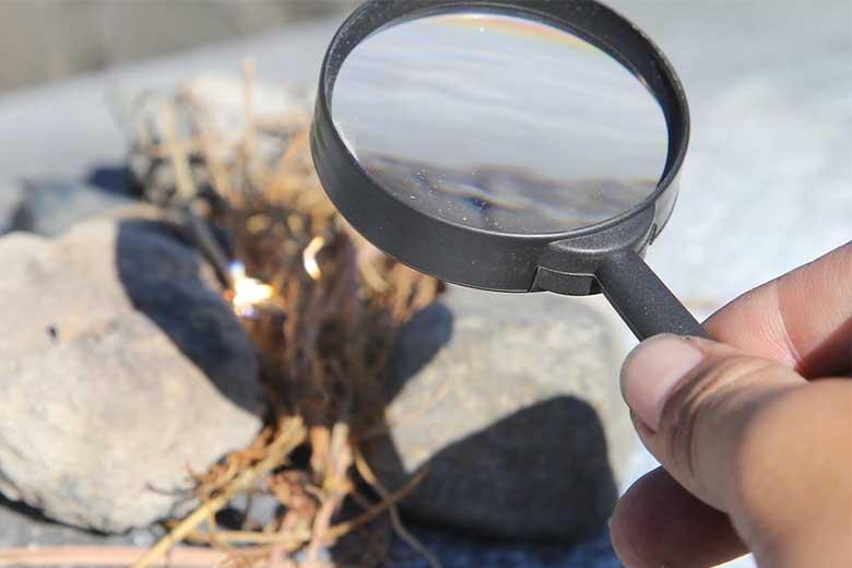 come accendere un fuoco lente di ingrandimento per innesco
